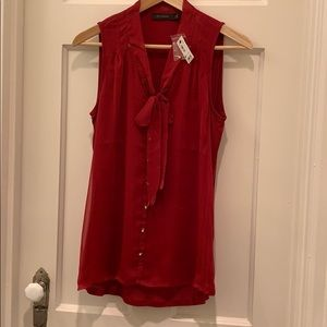 The Limited Sheer Overlay Tie Top Red Small - NWT